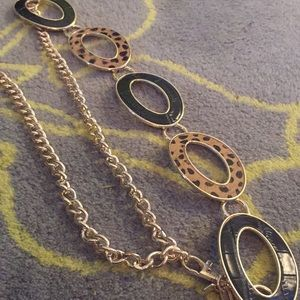 Chicos adjustable metal leather and fur belt